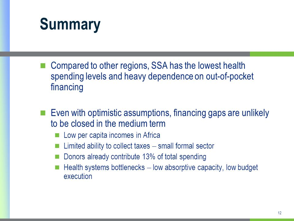 12 Summary Compared to other regions, SSA has the lowest health spending levels and heavy dependence on out-of-pocket financing Even with optimistic assumptions, financing gaps are unlikely to be closed in the medium term Low per capita incomes in Africa Limited ability to collect taxes – small formal sector Donors already contribute 13% of total spending Health systems bottlenecks – low absorptive capacity, low budget execution