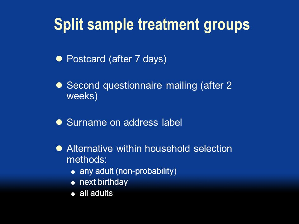 Split sample treatment groups Postcard (after 7 days) Second questionnaire mailing (after 2 weeks) Surname on address label Alternative within household selection methods: any adult (non-probability) next birthday all adults