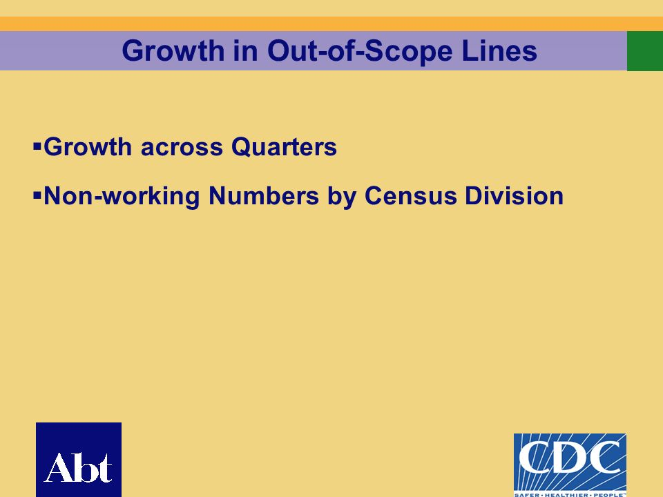 5 Growth in Out-of-Scope Lines Growth across Quarters Non-working Numbers by Census Division