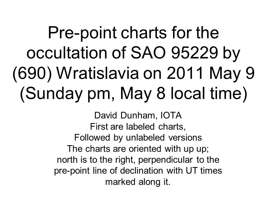 Pre-point charts for the occultation of SAO 95229 by (690) Wratislavia on 2011 May 9 (Sunday pm, May 8 local time) David Dunham, IOTA First are labeled charts, Followed by unlabeled versions The charts are oriented with up up; north is to the right, perpendicular to the pre-point line of declination with UT times marked along it.