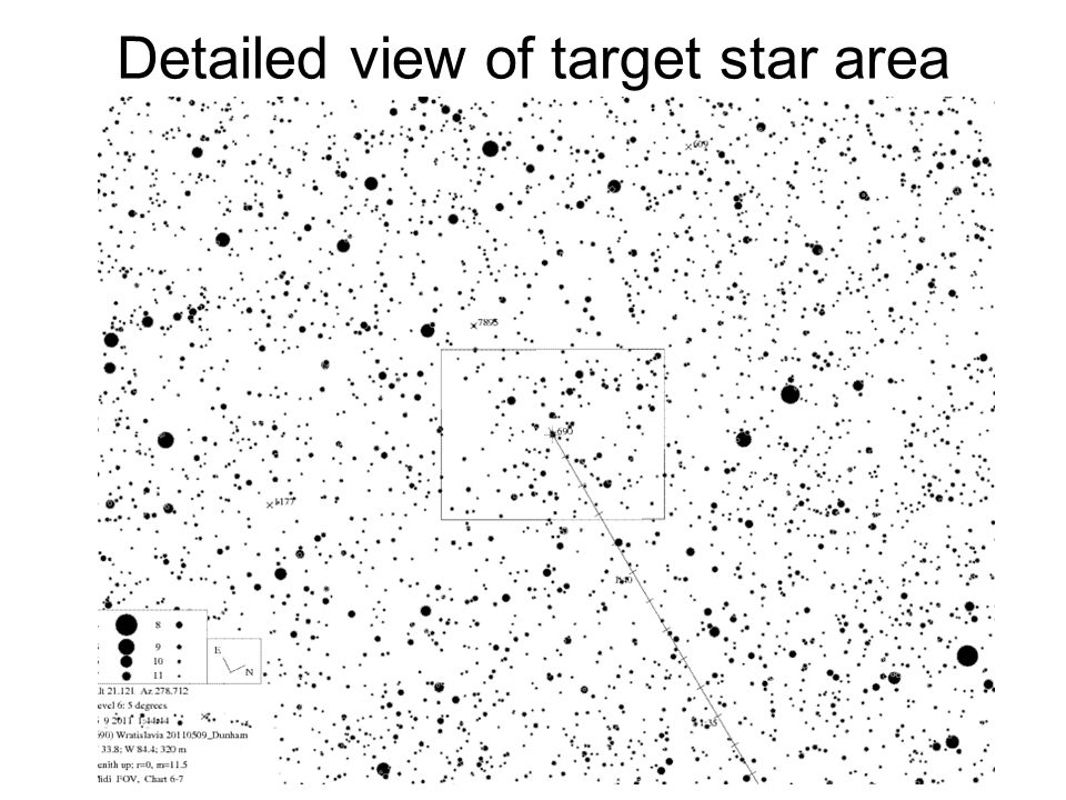Detailed view of target star area