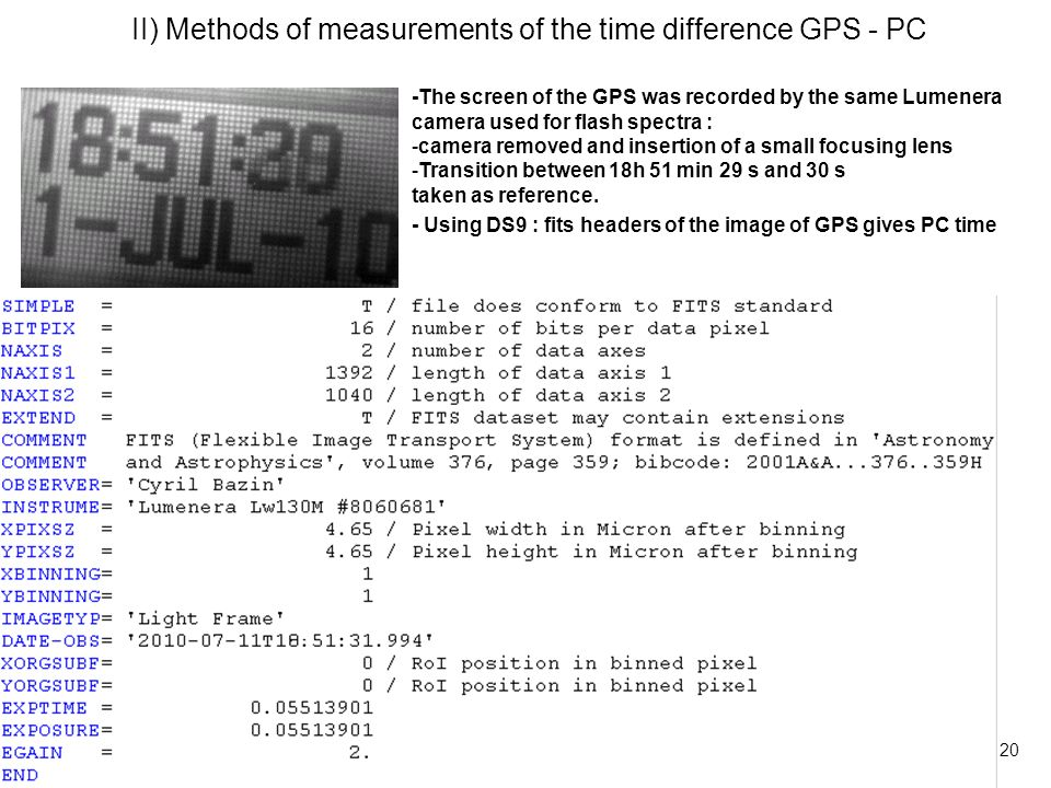 21 II) Methods of measurements of the time difference GPS - PC -The screen of the GPS was recorded by the same Lumenera camera used for flash spectra : -camera removed and insertion of a small focusing lens -Transition between 18h 51 min 29 s and 30 s taken as reference.