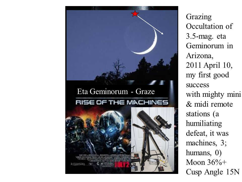 Eta Geminorum - Graze Grazing Occultation of 3.5-mag.
