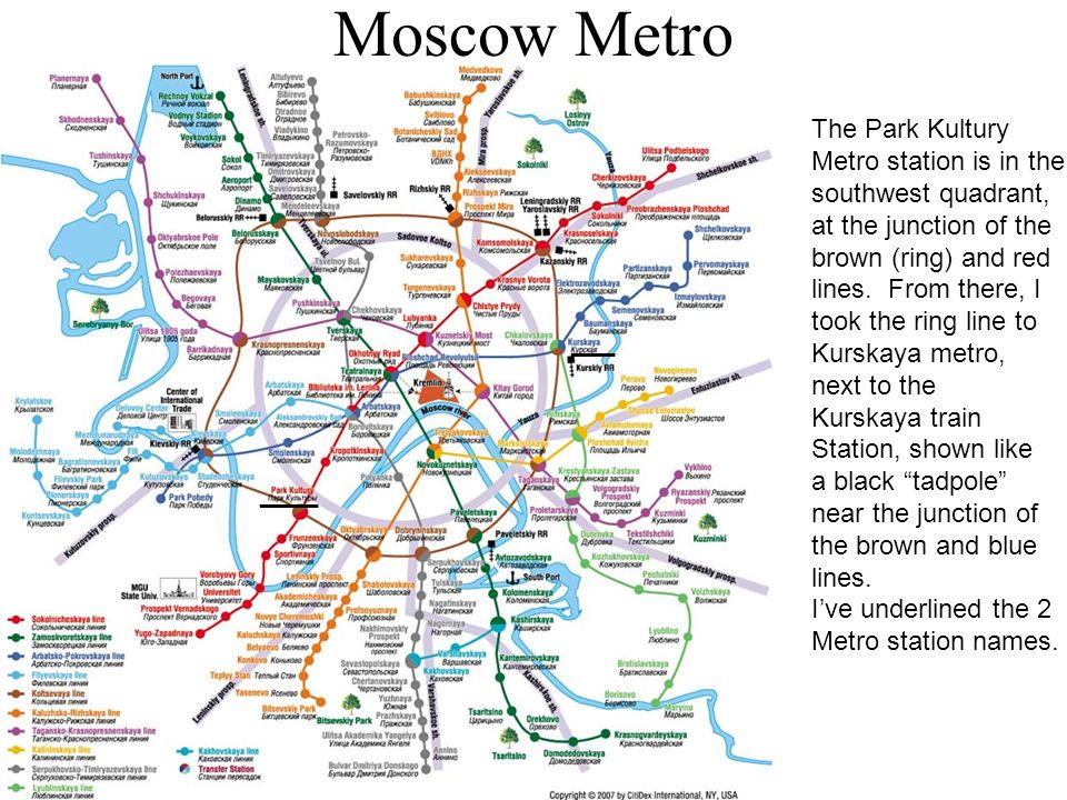 Moscow Metro ____ ___ The Park Kultury Metro station is in the southwest quadrant, at the junction of the brown (ring) and red lines.