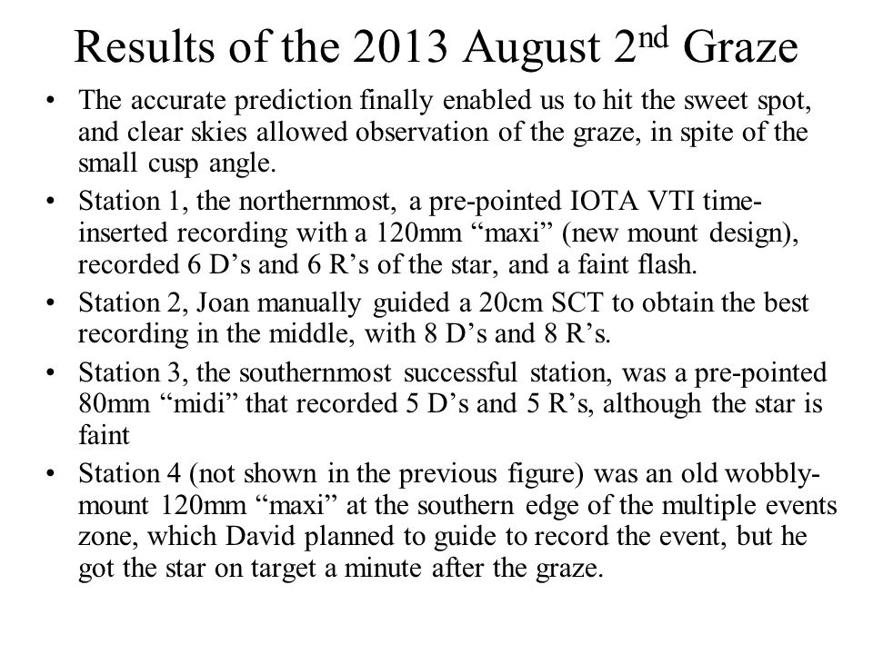 Results of the 2013 August 2 nd Graze The accurate prediction finally enabled us to hit the sweet spot, and clear skies allowed observation of the graze, in spite of the small cusp angle.