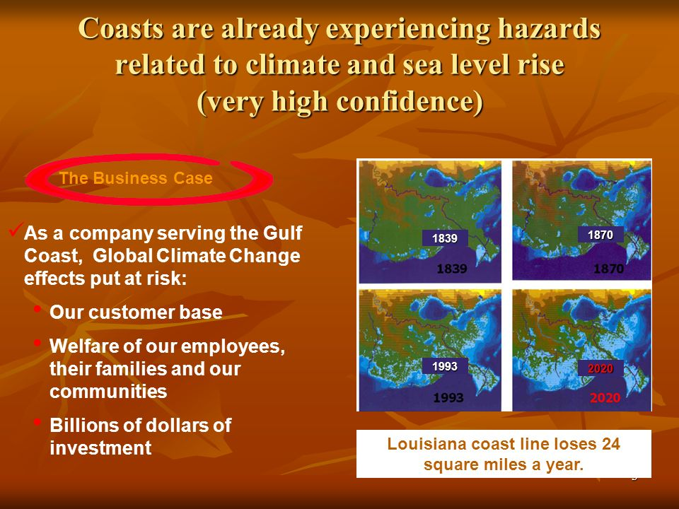 3 Coasts are already experiencing hazards related to climate and sea level rise (very high confidence) The Business Case As a company serving the Gulf Coast, Global Climate Change effects put at risk: Our customer base Welfare of our employees, their families and our communities Billions of dollars of investment 1839 1870 1993 2020 Louisiana coast line loses 24 square miles a year.