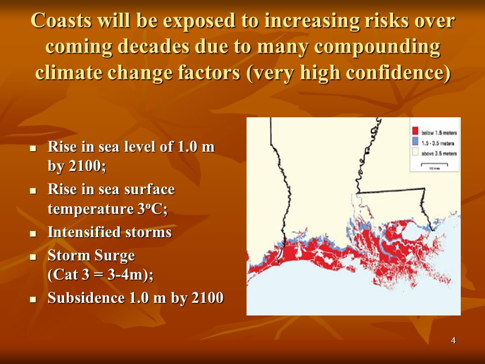 4 Coasts will be exposed to increasing risks over coming decades due to many compounding climate change factors (very high confidence) Rise in sea level of 1.0 m by 2100; Rise in sea level of 1.0 m by 2100; Rise in sea surface temperature 3 o C; Rise in sea surface temperature 3 o C; Intensified storms Intensified storms Storm Surge (Cat 3 = 3-4m); Storm Surge (Cat 3 = 3-4m); Subsidence 1.0 m by 2100 Subsidence 1.0 m by 2100