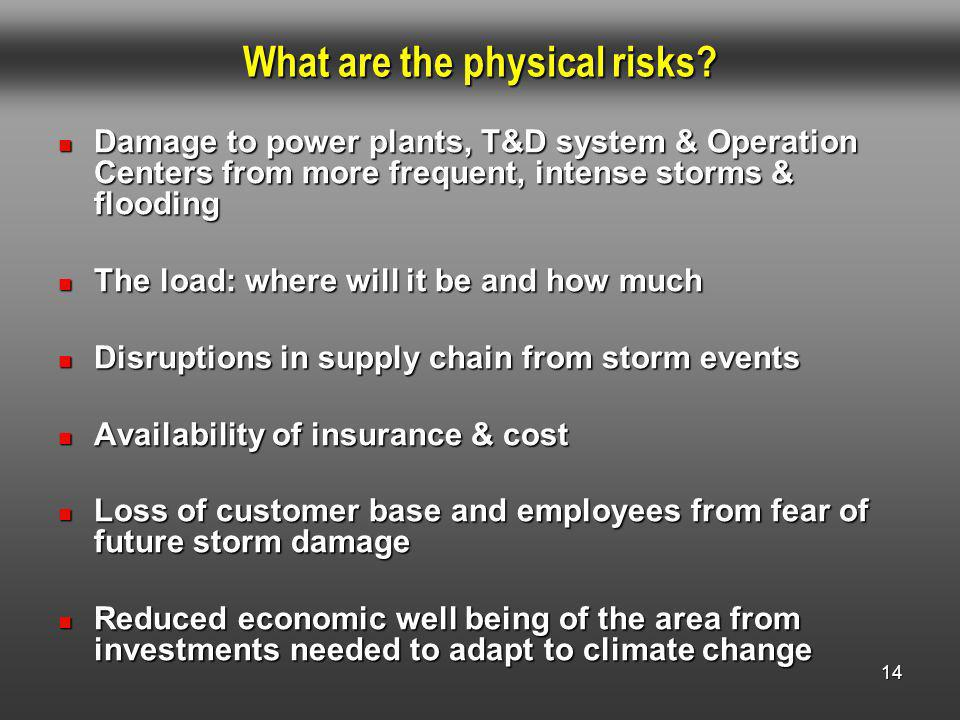 14 What are the physical risks.
