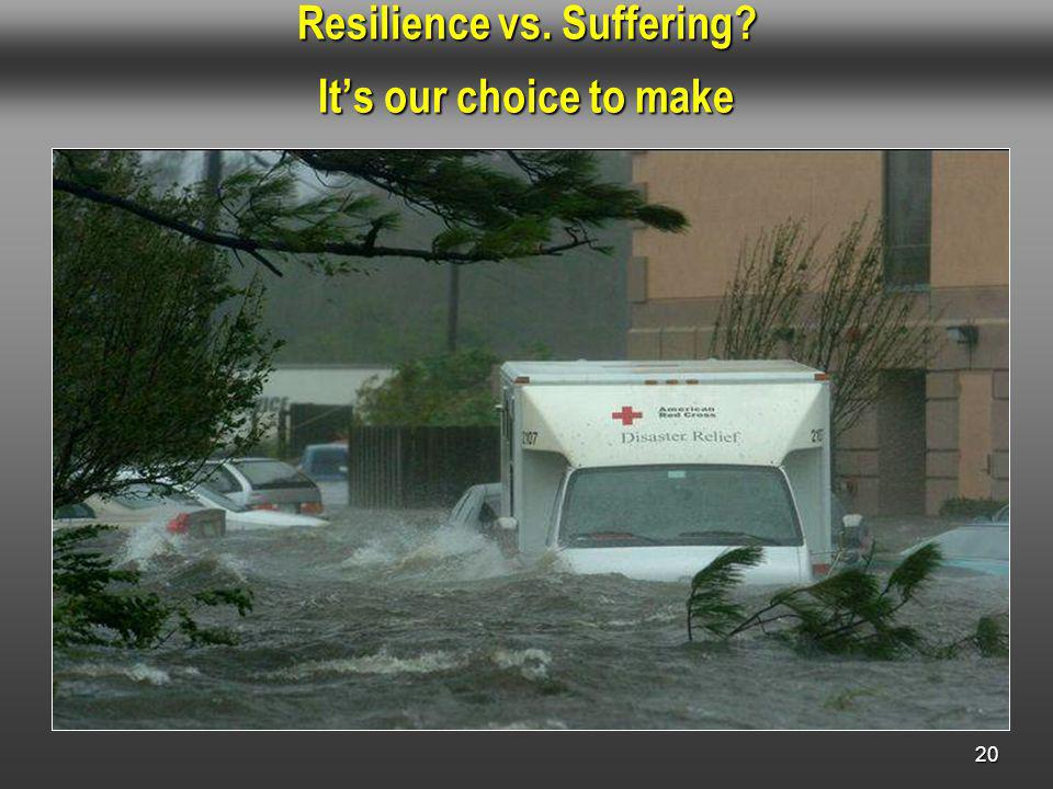 Resilience vs. Suffering Its our choice to make 20