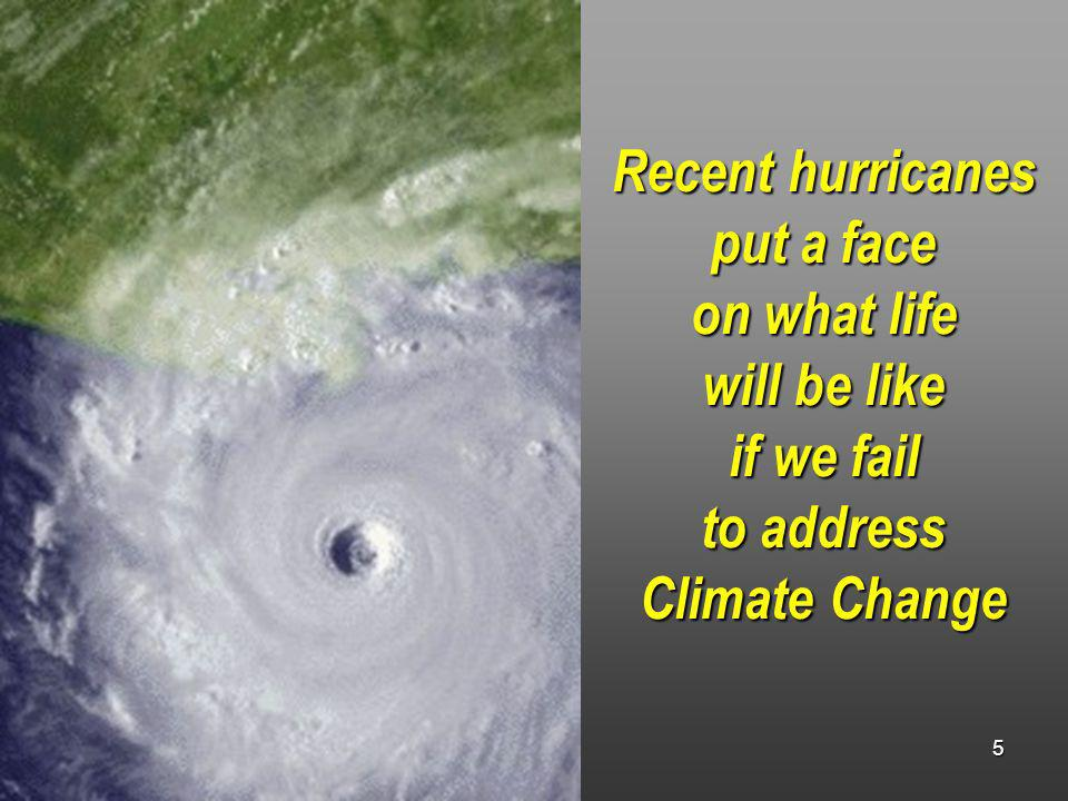 7/21/2006 5 Recent hurricanes put a face on what life will be like if we fail to address Climate Change
