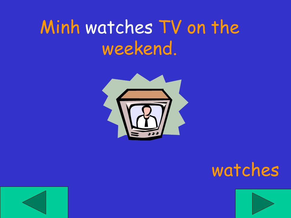 Minh ___ TV on the weekend. watch watchs watches