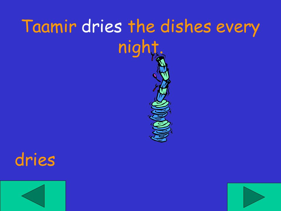 Taamir ___ the dishes every night. dries drys dry