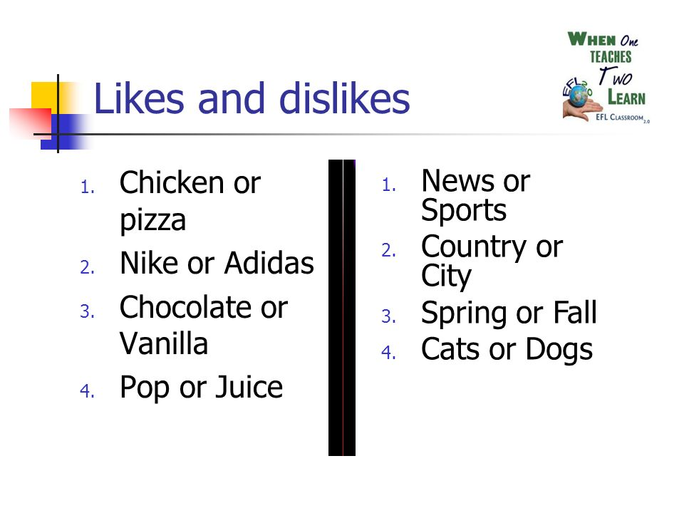 Likes and dislikes 1. Chicken or pizza 2. Nike or Adidas 3.