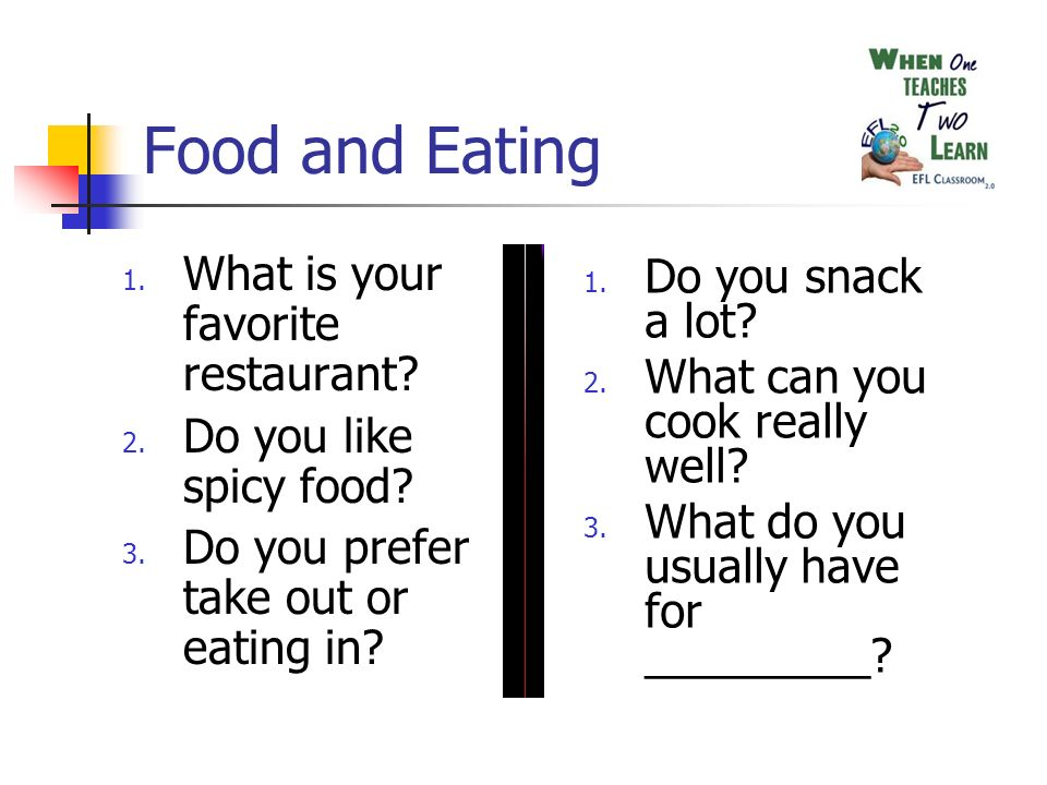 Food and Eating 1. What is your favorite restaurant.