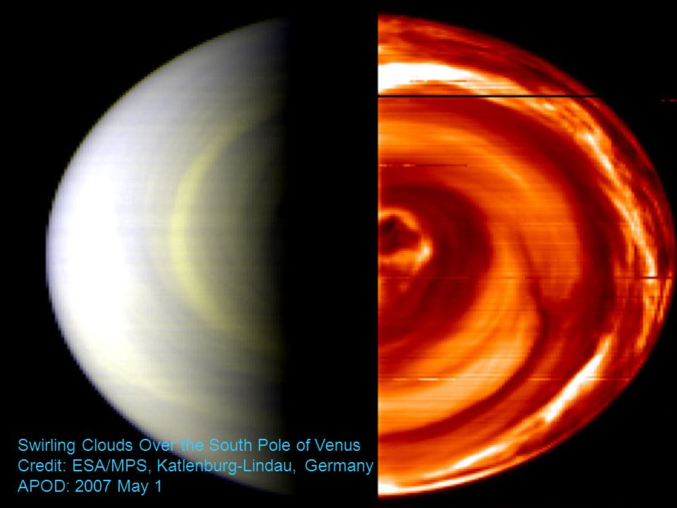 Swirling Clouds Over the South Pole of Venus Credit: ESA/MPS, Katlenburg-Lindau, Germany APOD: 2007 May 1