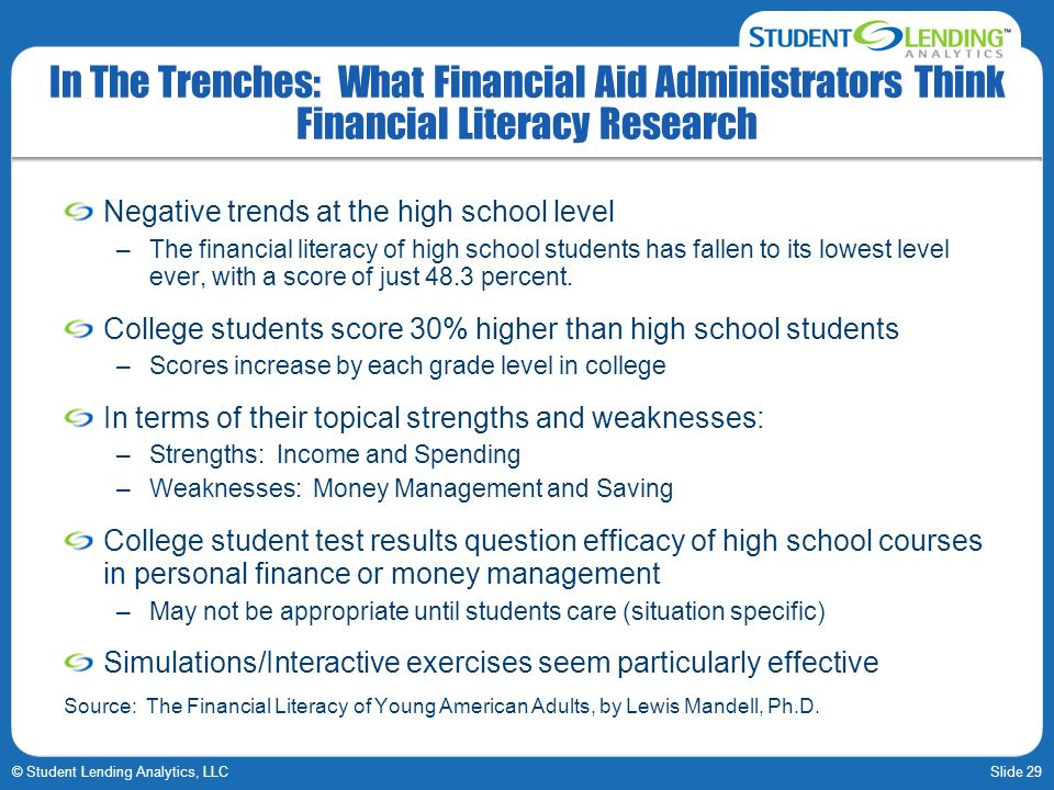 Slide 29© Student Lending Analytics, LLC In The Trenches: What Financial Aid Administrators Think Financial Literacy Research Negative trends at the high school level –The financial literacy of high school students has fallen to its lowest level ever, with a score of just 48.3 percent.