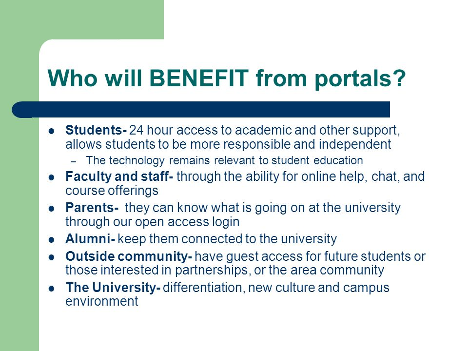 Who will BENEFIT from portals.