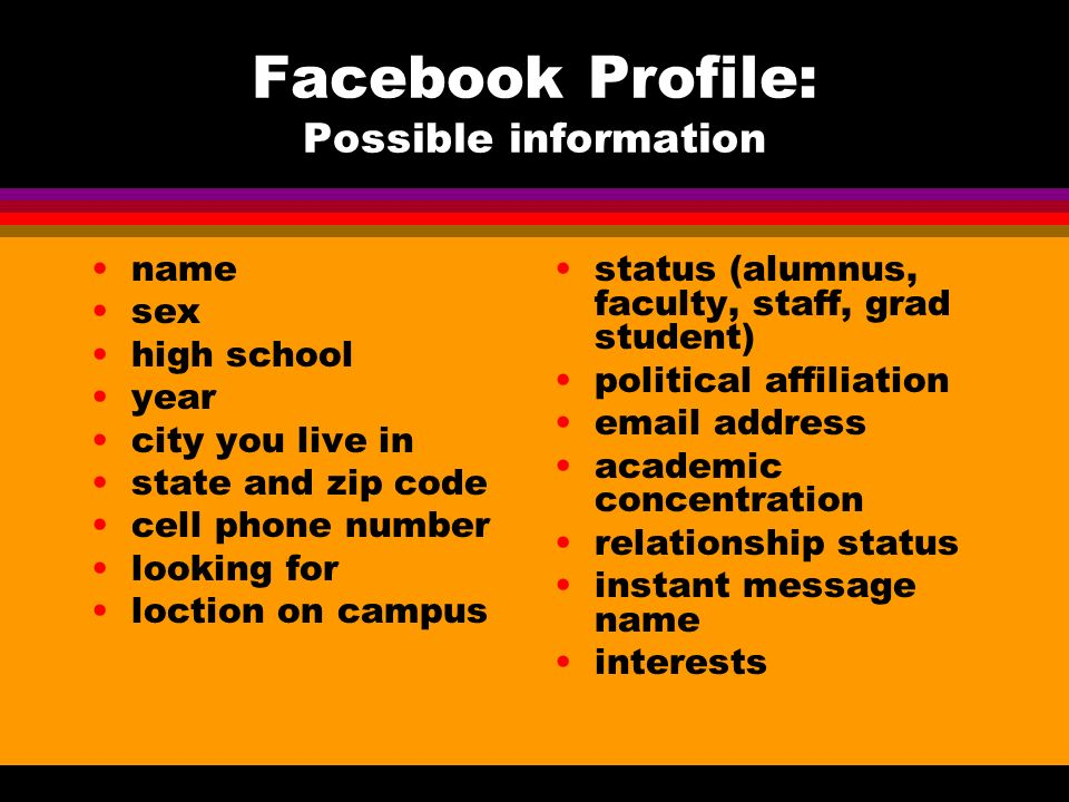 Facebook Profile: Possible information name sex high school year city you live in state and zip code cell phone number looking for loction on campus status (alumnus, faculty, staff, grad student) political affiliation email address academic concentration relationship status instant message name interests