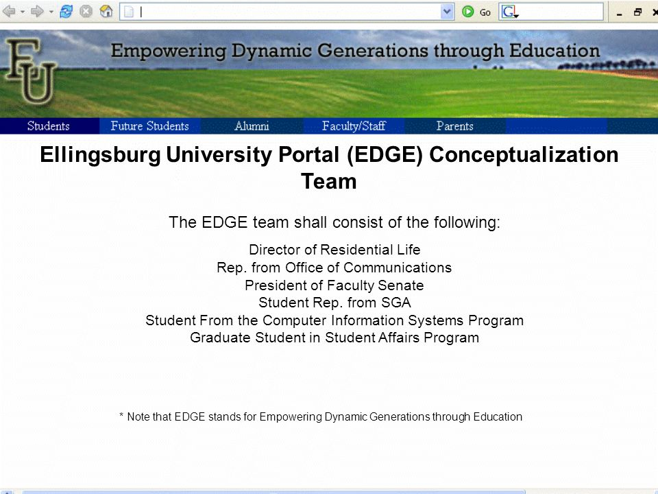 Ellingsburg University Portal (EDGE) Conceptualization Team The EDGE team shall consist of the following: Director of Residential Life Rep.