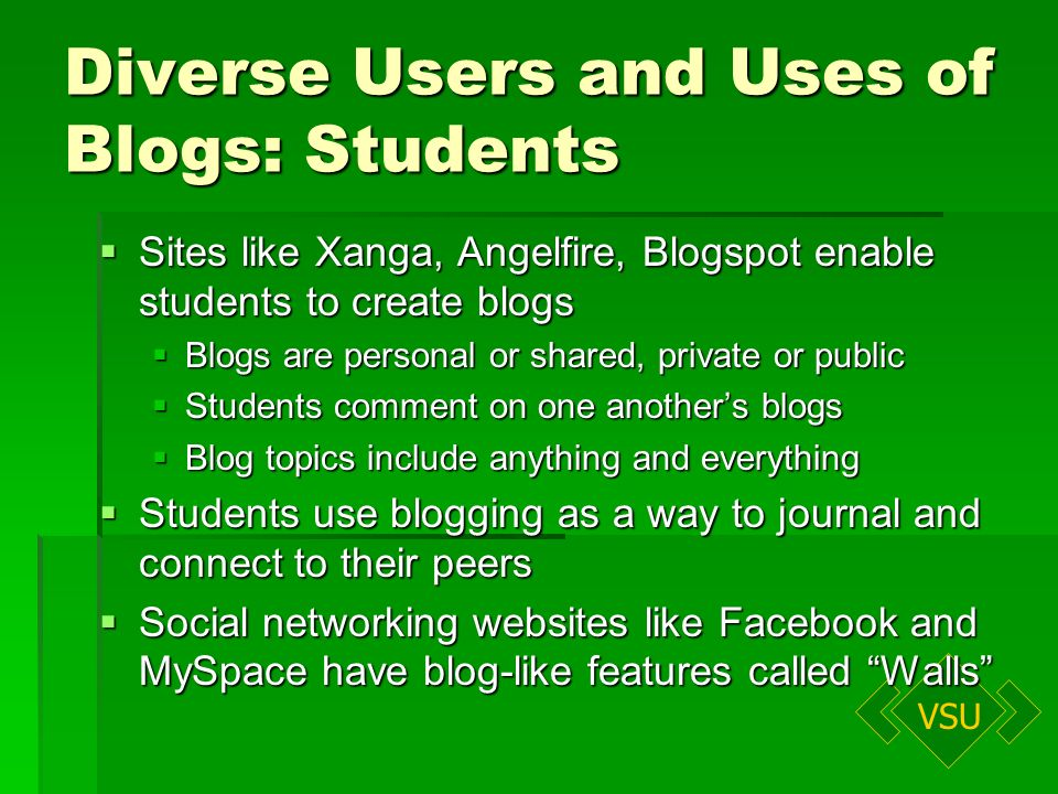 VSU Diverse Users and Uses of Blogs: Students Sites like Xanga, Angelfire, Blogspot enable students to create blogs Sites like Xanga, Angelfire, Blogspot enable students to create blogs Blogs are personal or shared, private or public Blogs are personal or shared, private or public Students comment on one anothers blogs Students comment on one anothers blogs Blog topics include anything and everything Blog topics include anything and everything Students use blogging as a way to journal and connect to their peers Students use blogging as a way to journal and connect to their peers Social networking websites like Facebook and MySpace have blog-like features called Walls Social networking websites like Facebook and MySpace have blog-like features called Walls