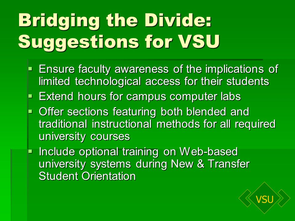 VSU Bridging the Divide: Suggestions for VSU Ensure faculty awareness of the implications of limited technological access for their students Ensure faculty awareness of the implications of limited technological access for their students Extend hours for campus computer labs Extend hours for campus computer labs Offer sections featuring both blended and traditional instructional methods for all required university courses Offer sections featuring both blended and traditional instructional methods for all required university courses Include optional training on Web-based university systems during New & Transfer Student Orientation Include optional training on Web-based university systems during New & Transfer Student Orientation