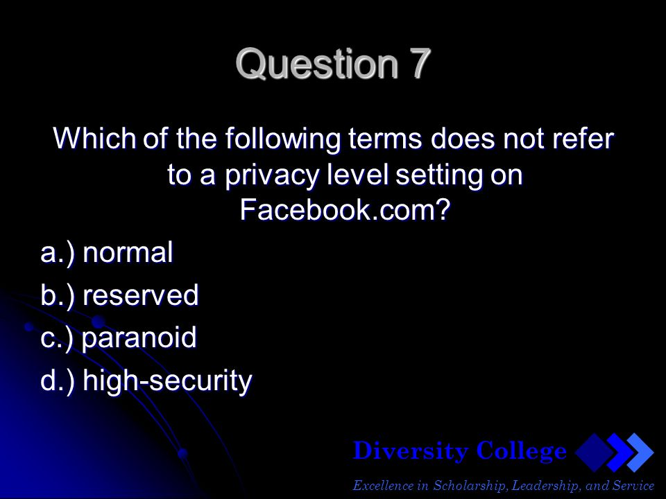 Diversity College Excellence in Scholarship, Leadership, and Service Question 7 Which of the following terms does not refer to a privacy level setting on Facebook.com.