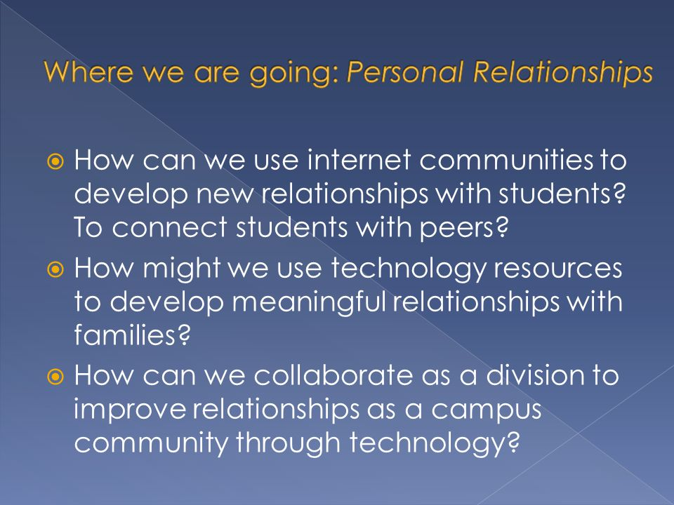 How can we use internet communities to develop new relationships with students.