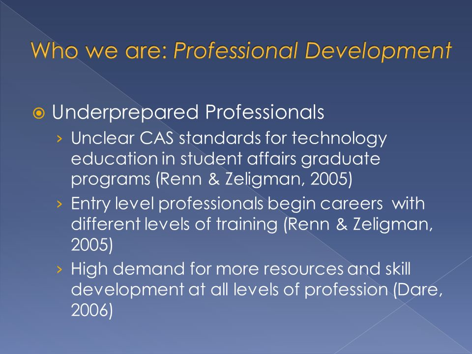 Underprepared Professionals Unclear CAS standards for technology education in student affairs graduate programs (Renn & Zeligman, 2005) Entry level professionals begin careers with different levels of training (Renn & Zeligman, 2005) High demand for more resources and skill development at all levels of profession (Dare, 2006)