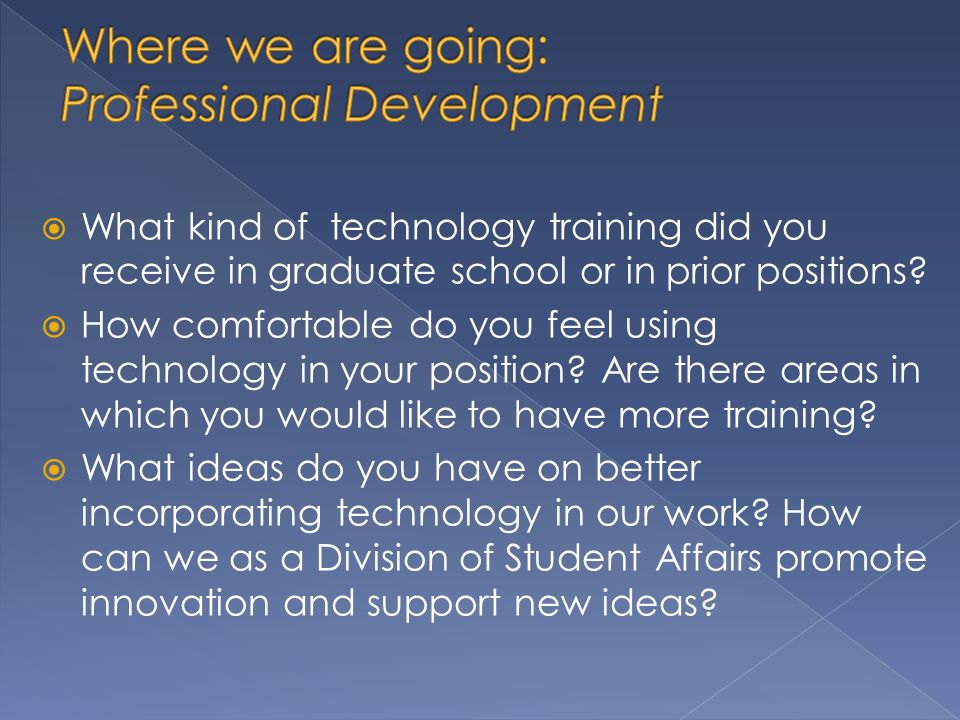 What kind of technology training did you receive in graduate school or in prior positions.