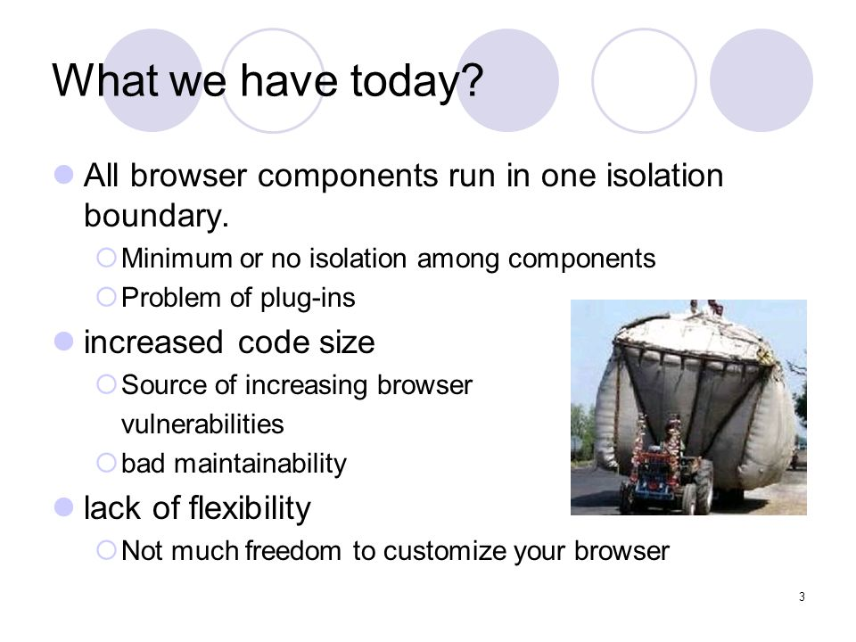 3 What we have today. All browser components run in one isolation boundary.
