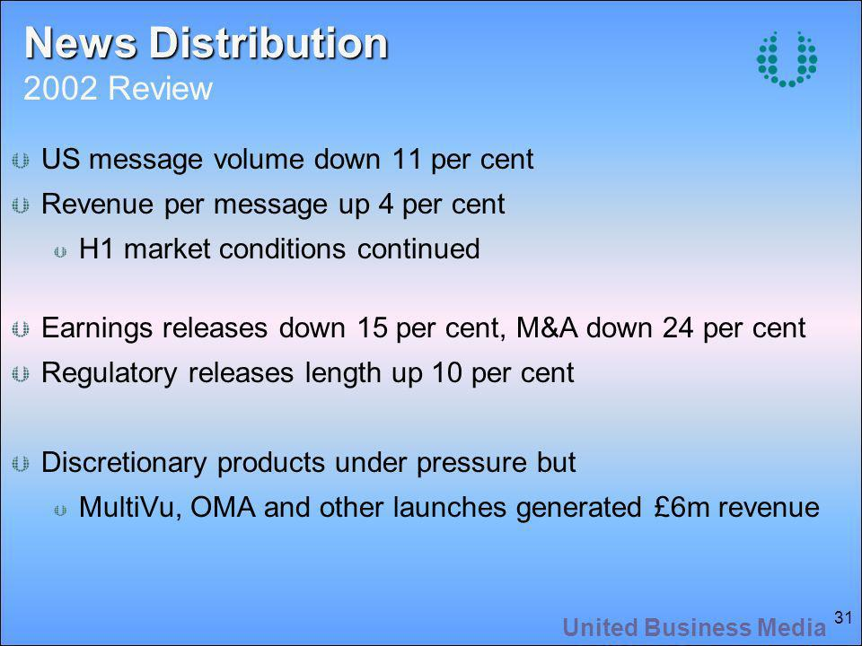 United Business Media 31 US message volume down 11 per cent Revenue per message up 4 per cent H1 market conditions continued Earnings releases down 15 per cent, M&A down 24 per cent Regulatory releases length up 10 per cent Discretionary products under pressure but MultiVu, OMA and other launches generated £6m revenue News Distribution News Distribution 2002 Review