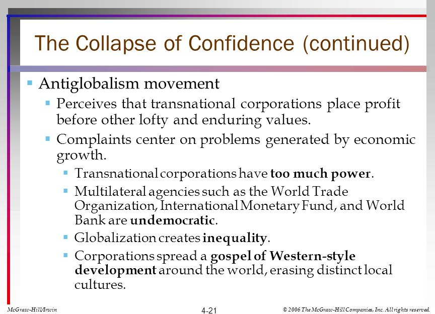 The Collapse of Confidence (continued) Antiglobalism movement Perceives that transnational corporations place profit before other lofty and enduring values.