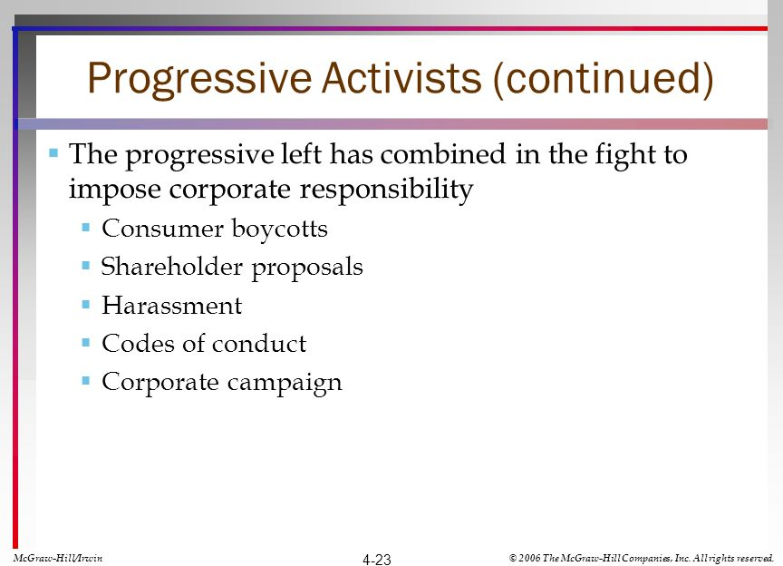 Progressive Activists (continued) The progressive left has combined in the fight to impose corporate responsibility Consumer boycotts Shareholder proposals Harassment Codes of conduct Corporate campaign McGraw-Hill/Irwin© 2006 The McGraw-Hill Companies, Inc.