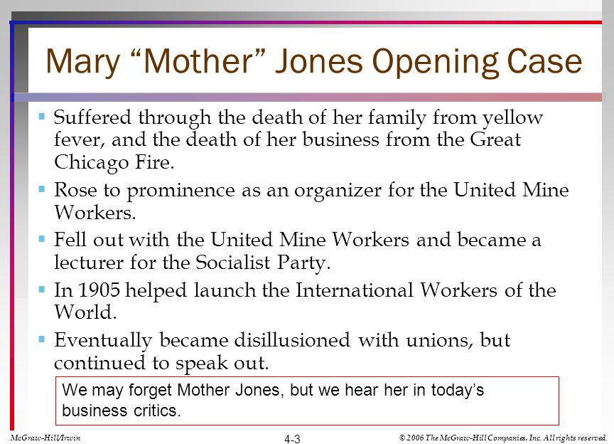 Mary Mother Jones Opening Case Suffered through the death of her family from yellow fever, and the death of her business from the Great Chicago Fire.
