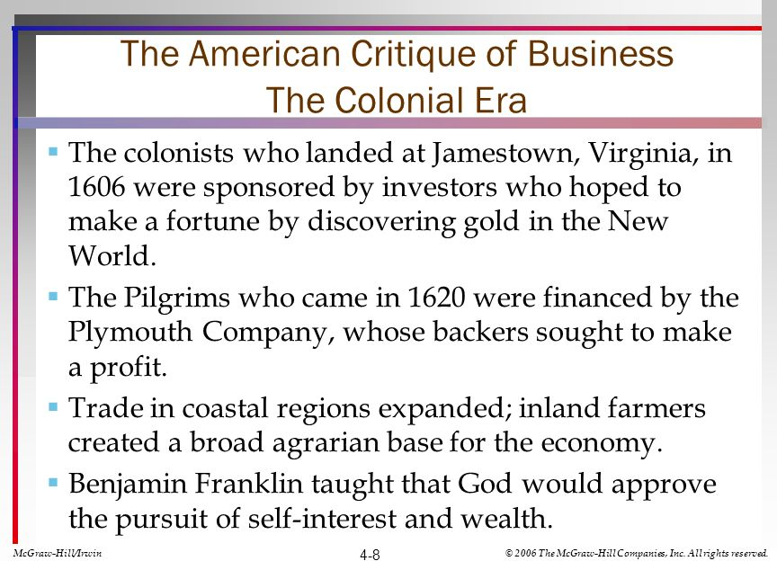 The American Critique of Business The Colonial Era The colonists who landed at Jamestown, Virginia, in 1606 were sponsored by investors who hoped to make a fortune by discovering gold in the New World.