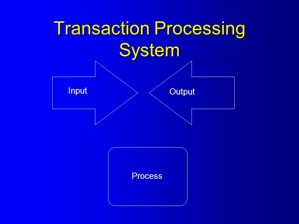 Transaction Processing System Input Output Process
