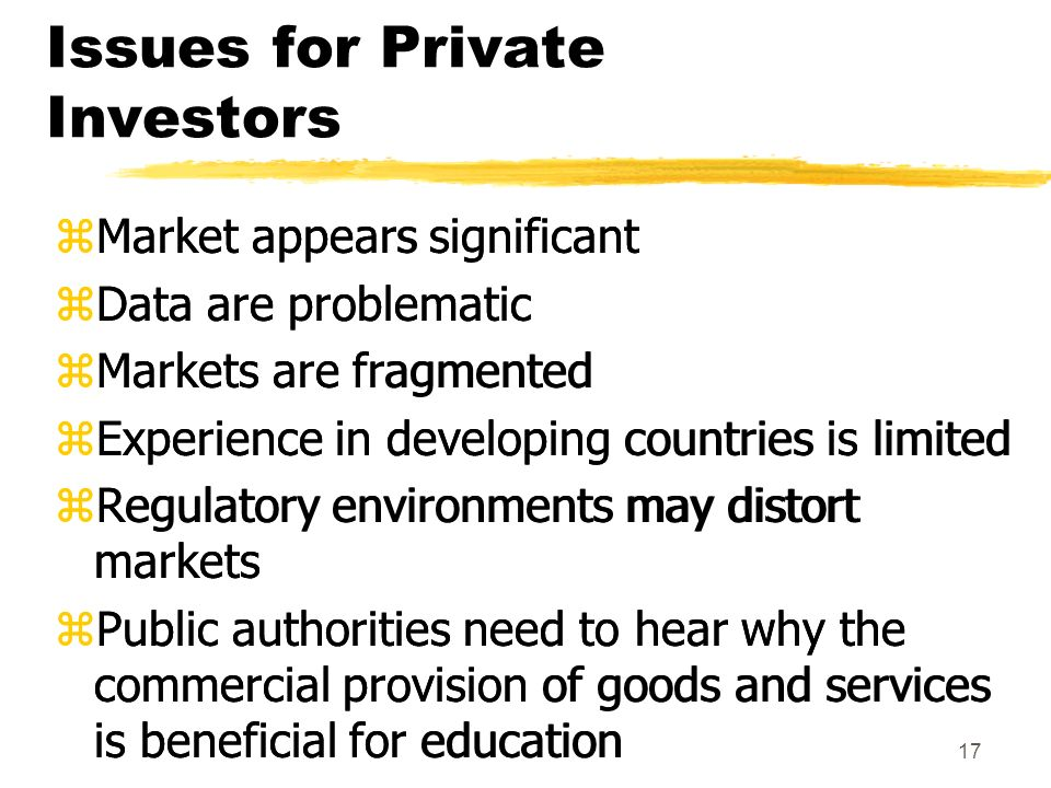 17 Issues for Private Investors zMarket appears significant zData are problematic zMarkets are fragmented zExperience in developing countries is limited zRegulatory environments may distort markets zPublic authorities need to hear why the commercial provision of goods and services is beneficial for education zMarket appears significant zData are problematic zMarkets are fragmented zExperience in developing countries is limited zRegulatory environments may distort markets zPublic authorities need to hear why the commercial provision of goods and services is beneficial for education