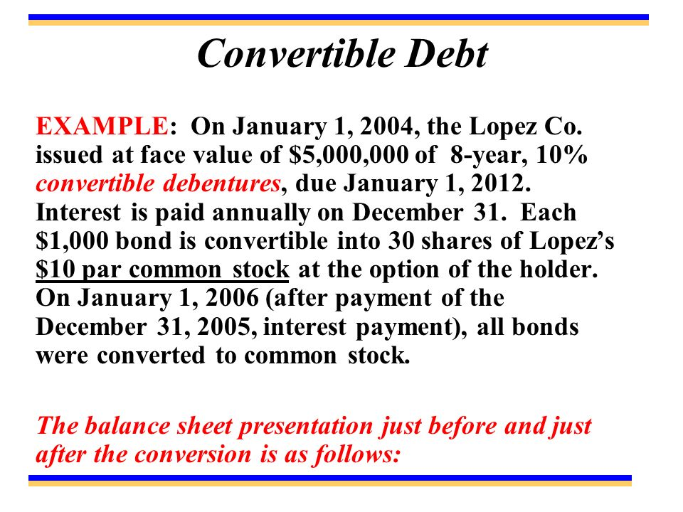 Convertible Debt EXAMPLE: On January 1, 2004, the Lopez Co.