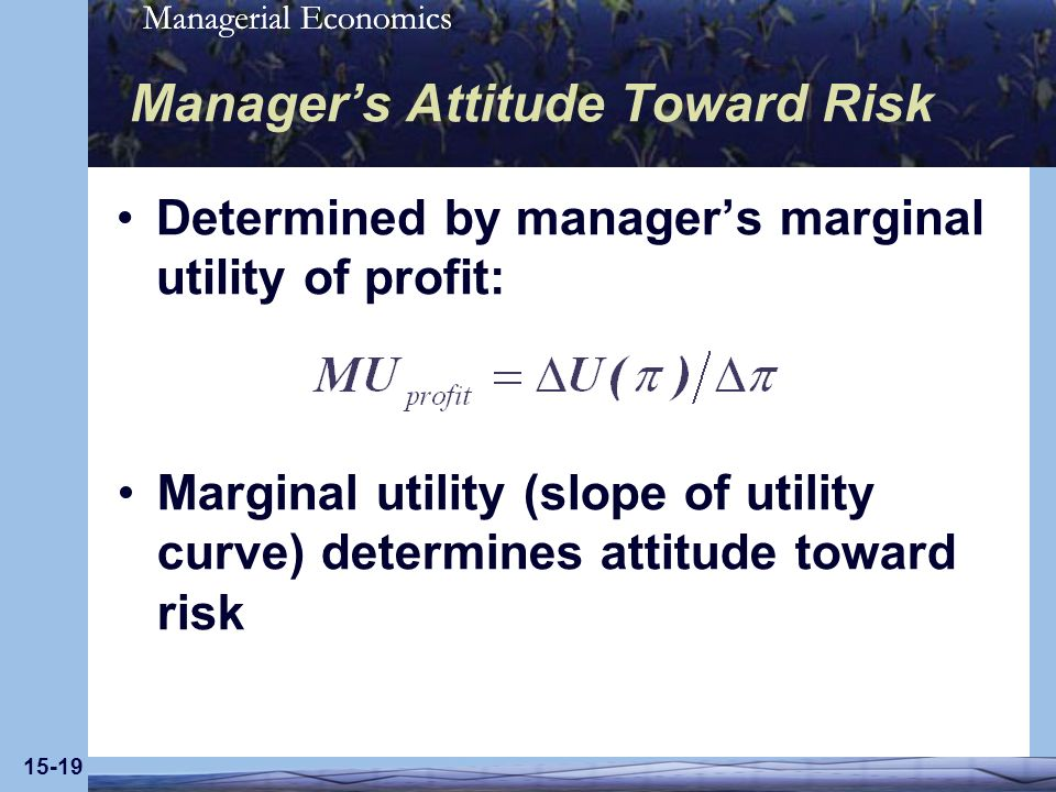 Managerial Economics 15-19 Managers Attitude Toward Risk Determined by managers marginal utility of profit: Marginal utility (slope of utility curve) determines attitude toward risk