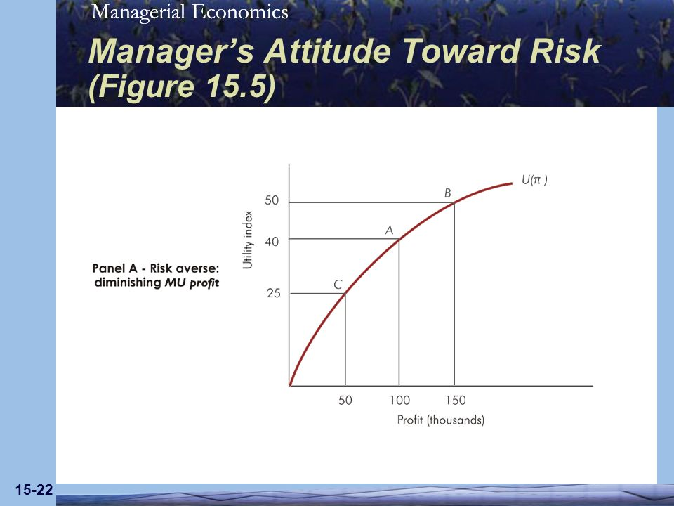 Managerial Economics 15-22 Managers Attitude Toward Risk (Figure 15.5)