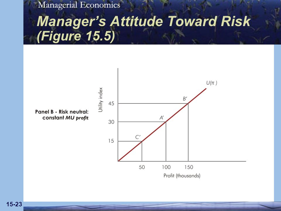Managerial Economics 15-23 Managers Attitude Toward Risk (Figure 15.5)