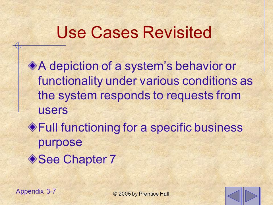 © 2005 by Prentice Hall Appendix 3-7 Use Cases Revisited A depiction of a systems behavior or functionality under various conditions as the system responds to requests from users Full functioning for a specific business purpose See Chapter 7