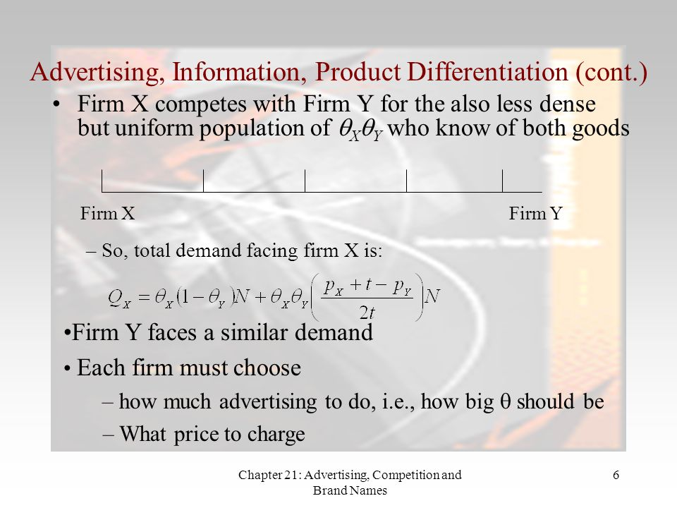 Chapter 21: Advertising, Competition and Brand Names 6 Advertising, Information, Product Differentiation (cont.) Firm X competes with Firm Y for the also less dense but uniform population of X Y who know of both goods Firm XFirm Y – So, total demand facing firm X is: Firm Y faces a similar demand Each firm must choose – how much advertising to do, i.e., how big should be – What price to charge