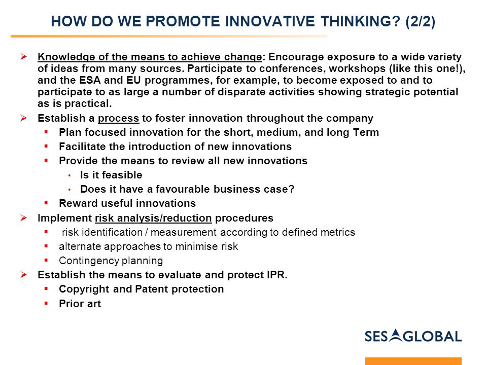 HOW DO WE PROMOTE INNOVATIVE THINKING.