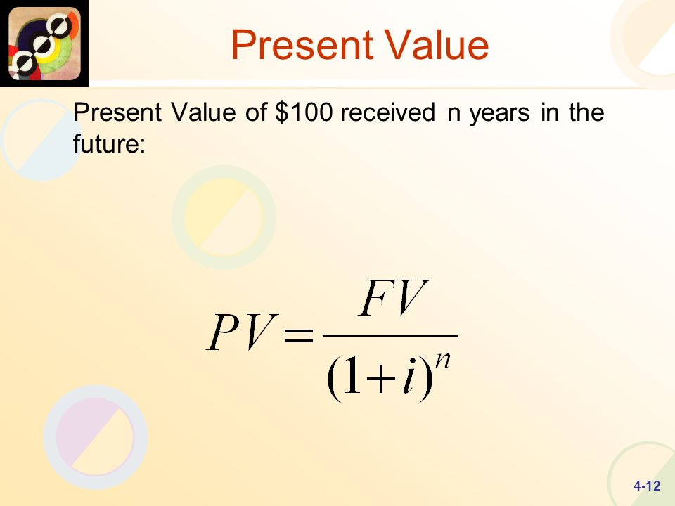 4-12 Present Value Present Value of $100 received n years in the future: