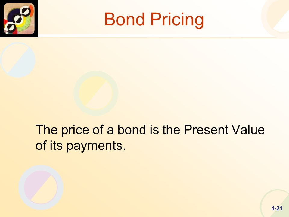 4-21 Bond Pricing The price of a bond is the Present Value of its payments.