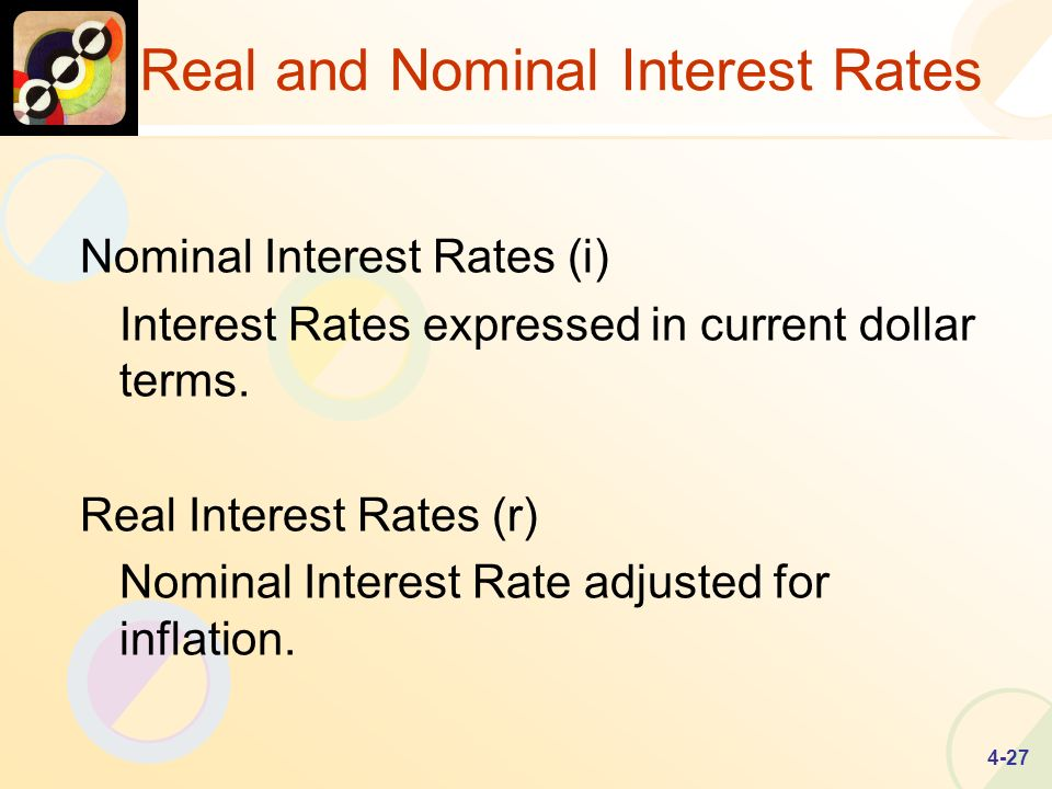 4-27 Real and Nominal Interest Rates Nominal Interest Rates (i) Interest Rates expressed in current dollar terms.