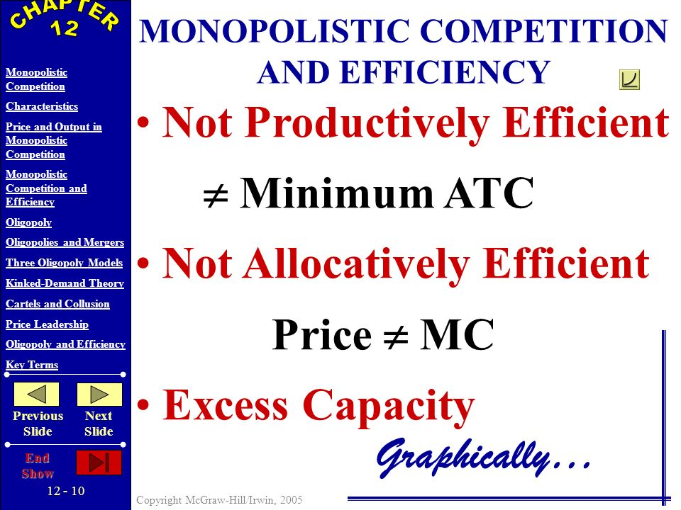 12 - 9 Copyright McGraw-Hill/Irwin, 2005 Monopolistic Competition Characteristics Price and Output in Monopolistic Competition Monopolistic Competition and Efficiency Oligopoly Oligopolies and Mergers Three Oligopoly Models Kinked-Demand Theory Cartels and Collusion Price Leadership Oligopoly and Efficiency Key Terms Previous Slide Next Slide End Show D MR MC P 3 = A 3 ATC Price and Costs Q3Q3 PRICE AND OUTPUT IN MONOPOLISTIC COMPETITION Quantity Long-Run Equilibrium Normal Profit Only