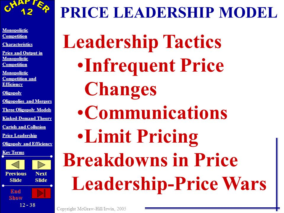 12 - 37 Copyright McGraw-Hill/Irwin, 2005 Monopolistic Competition Characteristics Price and Output in Monopolistic Competition Monopolistic Competition and Efficiency Oligopoly Oligopolies and Mergers Three Oligopoly Models Kinked-Demand Theory Cartels and Collusion Price Leadership Oligopoly and Efficiency Key Terms Previous Slide Next Slide End Show Obstacles to Collusion Demand and Cost Differences Number of Firms Cheating Recession Potential Entry Antitrust Law CARTELS AND OTHER COLLUSION