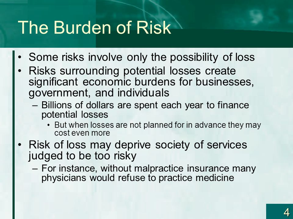 4 The Burden of Risk Some risks involve only the possibility of loss Risks surrounding potential losses create significant economic burdens for businesses, government, and individuals –Billions of dollars are spent each year to finance potential losses But when losses are not planned for in advance they may cost even more Risk of loss may deprive society of services judged to be too risky –For instance, without malpractice insurance many physicians would refuse to practice medicine